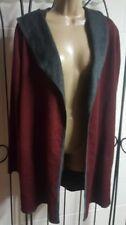 BNCI By Blanc Noir Women's Long Open Front Maroon Gray Sweater Jacket  Sz L EUC