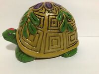 Vintage Ceramic Turtle Piggy Bank Viking Imports Hand Painted