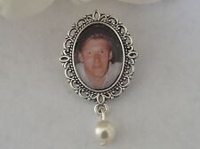 Memorial Photo Frame Charm Pin/Button Hole Fastening Made With Swarovski Bead