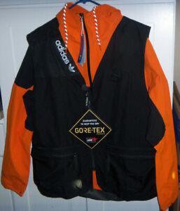 ADIDAS Mens Fishing Jacket Goretex Multi Layering System LARGE GE4352 Orange