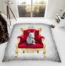 Englischer Bullterrier auf einem Thron Luxus Fleece Tagesdecke Hund