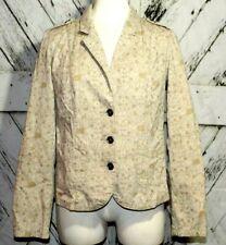 Womens Ruff Hewn Beige Floral Size M Blazer Jacket Button Down Cotton Work Wear