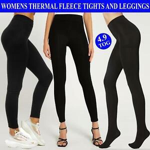 Ladies Black Thermal Opaque Tights Womens Tog 4.9 Fleece Lined Hosiery