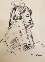 JOSE TRUJILLO - Original Charcoal on Paper Sketch Drawing 18X24 Figure COA ART