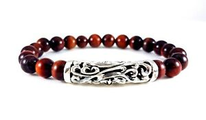 MEN'S RED TIGER'S EYE GEMSTONE SOLID 925 STERLING SILVER FILIGREE CHARM BRACELET