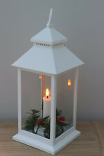 LED Christmas Lantern White 30cm.Ht  Features A Single Flicker Candle Inside