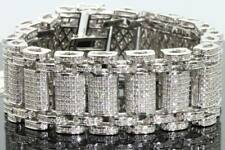 "15Ct Round Cut VVS1/D Diamond Men's 8"" Statement Bracelet 14k White Gold Over"