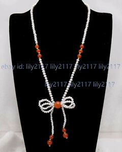 Beauty Natural 5-6mm Akoya White Freshwater Pearl Bowknot Pendant Necklace 24''