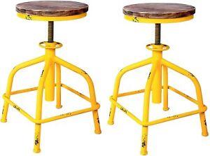 Set of 2 Farmhouse Kitchen Stool Adjustable Swivel Bar Stools Design Yellow