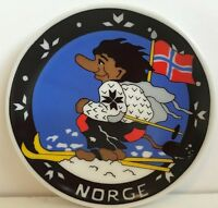 Norge Plate Collectors Mini Plates Flag Winter Skiing Skier Vintage Rare