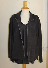 Susan Graver 1X 2X Silver-Black Long V-Neck Knit Shirt + Matching Jacket -Mint