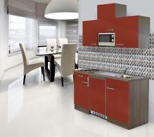 Mini Cucina Angolo Cottura Blocco 150 cm Rovere York Rosso Respekta