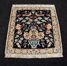 Orient Teppich Seide 53 x 51 cm Perserteppich Vase Dunkelblau Silk Carpet Rug