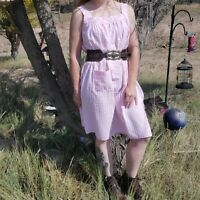 Vintage Pink and White Striped Sleeveless Dress Size M
