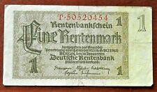 1937 OLD GERMANY 1 RENTENMARK  BANKNOTE *T* , GOOD