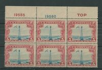 UNITED STATES 1928 5c AIR PLATE BLOCK   MNH**
