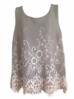Ladies New Sleeveless italian summer embroided top vest lace tunic plus size