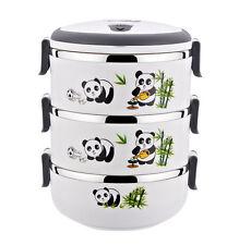 Three-layer Insulated Stainless Steel Bento Box Creative Panda Lunch Box WHITE