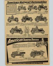 1932 PAPER AD American National Pedal Car Hudson Franklin Dump Trucks Reo Ace ++