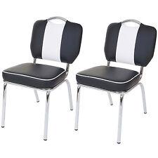 Set 2x sedie sala da pranzo anni 50 Avellino metallo ecopelle 62x47x84cm nero
