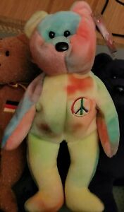 """*RARE* 1996 TY Beanie Baby """"PEACE"""" the Bear - EXCELLENT COND. w/ Tag Protector!"""