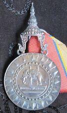 Thailand Most Exalted Order White Elephant Mens Medal Original Box & Ribbon Thai