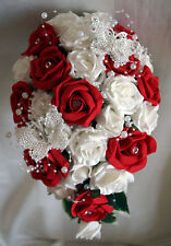 Brides,Bridesmaids Wedding Bouquet Flowers Red/Ivory or White with.butterflies