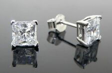 Cubic Zirconia Stud Earrings 925 Sterling Silver 8mm Square Best Shine AAA CZ