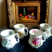 Royal Staffordshire coffee mugs / teacup pink rose floral Set 4   Large