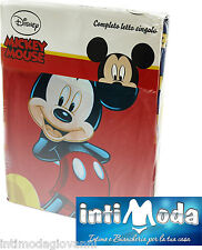 Completo Letto Lenzuola Singolo Disney Topolino Microfibra Sopra Sotto Federa