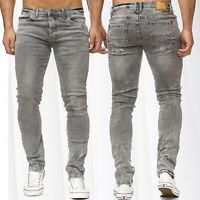 Men's Jeans Pants Slim Fit Used Tapered Fit 5 Pocket Vintage Skinny Trousers