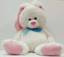 """Hugfun HUGE  26"""" White & pink Plush Bunny Rabbit Hug Fun BIG Stuffed Animal Toy"""
