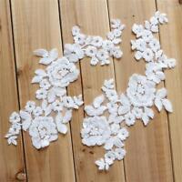 Elfenbein Baumwollspitze Applikation Blumen Stickerei Borte Braut Spitze Motiv