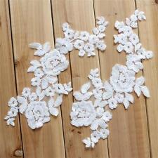 Ivory Cotton Lace Applique Floral Embroidery Trim Bridal Dress Lace Motif 1 Pair