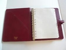 FILOFAX- LEATHER PLANNER- DESKTOP SIZE-DX1 CLF 5/4- WITH  MANY INSERTS- MADE@UK