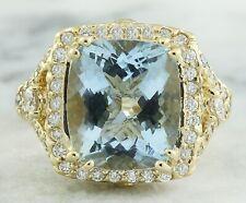 6.17 Carat Natural Aquamarine 14K Yellow Gold Diamond Ring