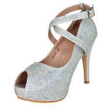 Ladies Diamante Platform Pumps High Heels Summer Party Races Prom Wedding Shoes