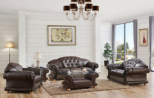 Apolo Living Room Set Sofa and Loveseat in Brown 100% Genuine Italian Leather