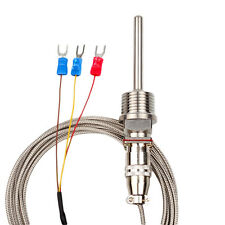"RTD Pt100 Temperature Sensor Probe Cable 3 Wires 1/2"" NPT 750°F for Temp Control"
