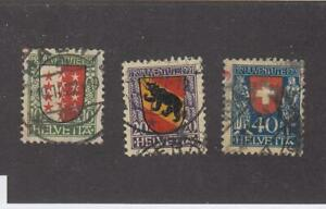 SWITZERLAND (MK6501A) # B18-B20 VF-USED 10,20,40c  VARIOUS COAT OF ARMS-2 CV $54