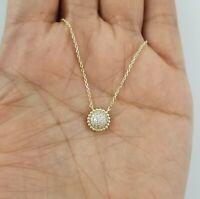 Women 14k Yellow Gold Round Diamond Pendant Necklace