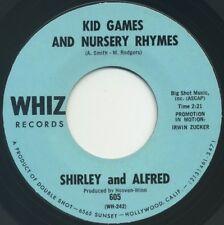"SHIRLEY & ALFRED Kid Games & Nursery Rhymes/Too Much, Too Soon 7"" 1968 Whiz EX"
