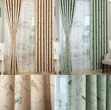 Oriental Bird Vintage Shabby Chic Tape Top Blackout Lined Curtains Duckegg Cream