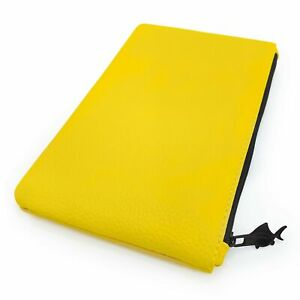 Leather Look Pencil Case - Faux Leather Pencil Case - Pastel Yellow - by Fat ...
