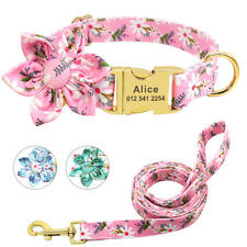 Floral Dog Personalised Collar and Lead Leash Custom Dog Nameplate Tags Engraved