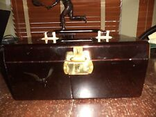 VINTAGE LUCITE VANITY CASE TORTOISE SHELL BOX W/ KEY GOLD HARDWARE STORAGE RETRO