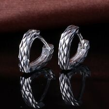 New Pure Platinum 950 Unique Love Heart Fine Carved Woman's Hoop Earrings 2.1g