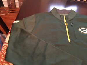 MENS MAJESTIC COOL BASE GREEN BAY PACKERS 1/4 Zip TOP XL GREEN/YELLOW NWT