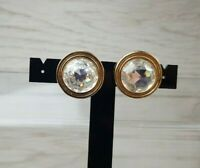 Vintage 1980s Christian Dior Crystal And Goldtone Clip On Earrings