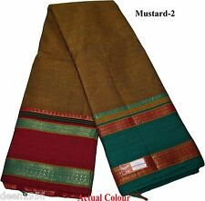 100% Cotton Ethnic India Handloom Ganga Jamuna Border Saree Sari Mustard-2